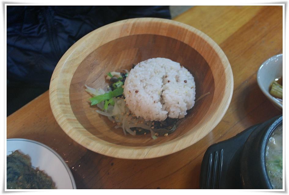 산채비빔밥에 밥을 넣은 모습