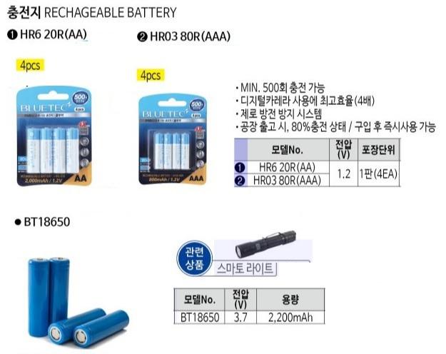 충전지 HR6 20R(AA) (2,000mAh) (1판=4EA) 블루텍 제조업체의 전기전설/조명기구/건전지 가격비교 및 판매정보 소개