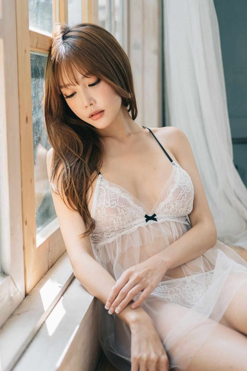 hot Korean girl wearing see through lingerie